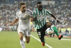 The highly impressive Cedrick in action against Madrid.